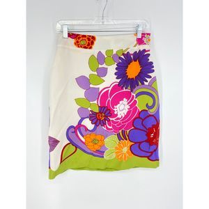 Tori Richards Sz 6 Silk Floral Print Pencil Skirt